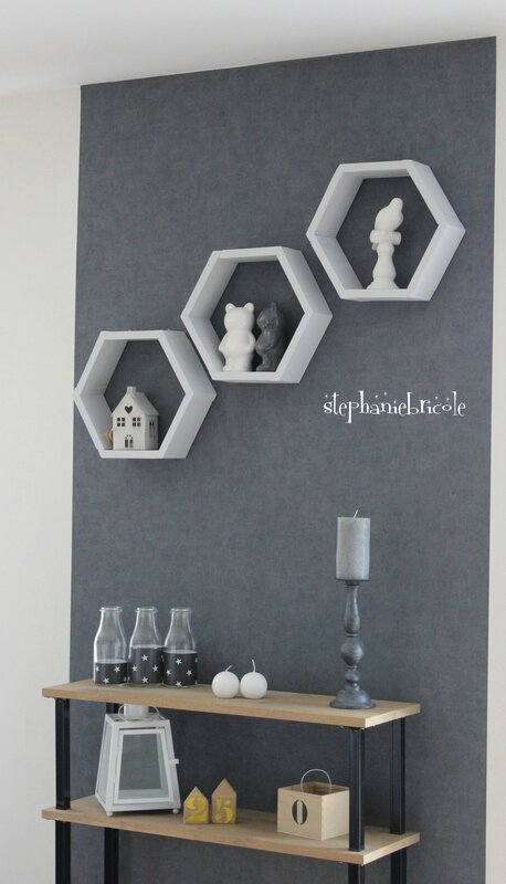 diy deco bois des tag res hexagonales st phanie bricole. Black Bedroom Furniture Sets. Home Design Ideas