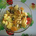 Salade de fruits frais au rhum et raisins secs