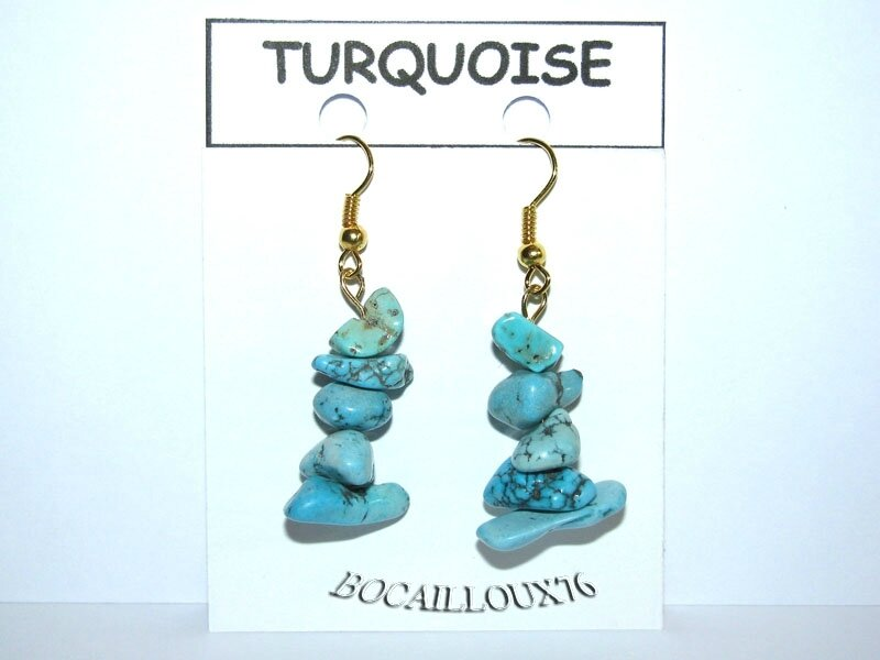 BOUCLE OREILLE TURQUOISE 10