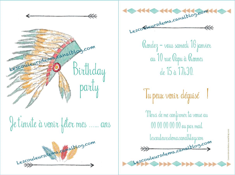Carte d'anniversaire plumes d'indien RECTO VERSO