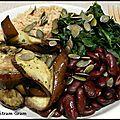 Assiette veggie : riz au tahin, haricots rouges, tombée d'épinard et aubergines sautées