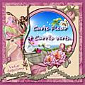 Carte fleur et carres verts
