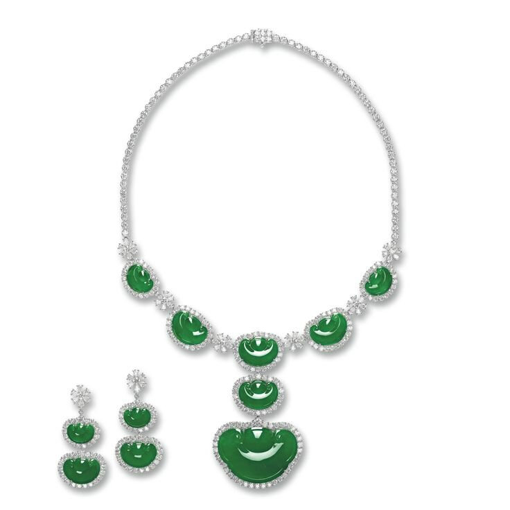 Jadeite 'Ruyi' and Diamond Necklace and Pair of Matching Earrings