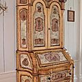 Beau Scriban en armoire formant commode, galb sur les trois cts, Venise, XVIIIe sicle