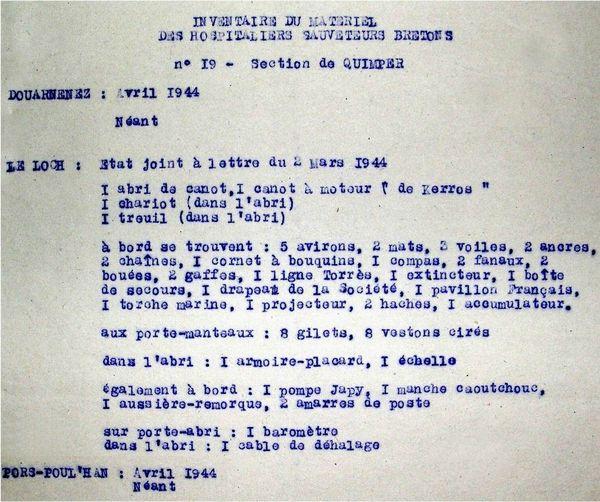 CH20 - Inventaire de la station de Loch Primelin en avril 1944