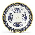 A Chinese Export Blue Enamel and Gilt initialed