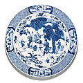 A large blue and white 'scholars' dish, qing dynasty, kangxi period (1662-1722)