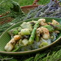 Vite fait , vite mangé : wok de gambas , asperges etc...