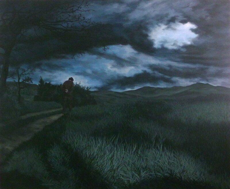 promenade dominicale, acrylique sur toile, 170x140cm, 2014