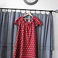 Robe ALBANE en lin rouge à pois couleur lin (3)