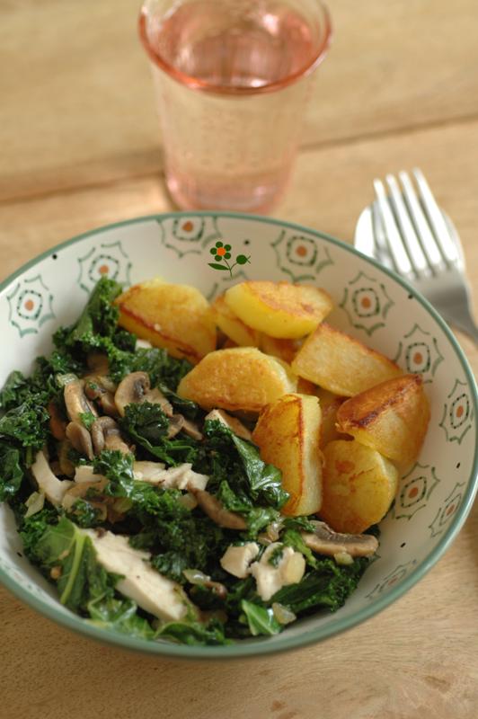 Poêlée de chou kale & champignons de Paris
