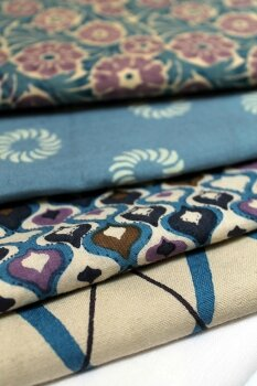 caravane tissu 70's tons bleus