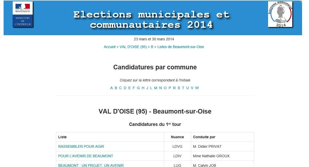 Les candidatures beaumont sur oise publication du for Election ministere interieur