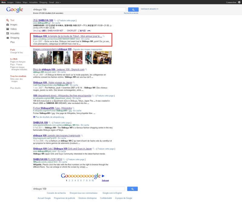 Canalblog Google recherche Shibuya 109