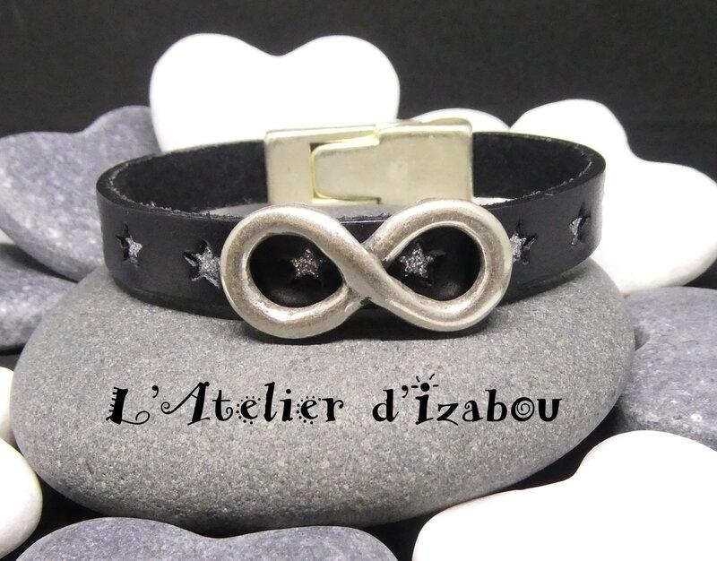 P1020853_Bracelet_Homme_Femme_amour_infini_cuir_noir__toile_argent__fermoir_s_curis__magn_tique