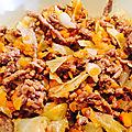 Wok chou express et viande hachée
