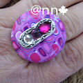 Bague Fimo rond multocolore ros mauve strass (N)