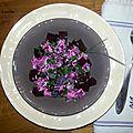 Betteraves en salade (chèvre et ciboulette)