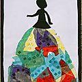 Princesse noire toute en couleurs Collage papiers soie paillettes et peinture