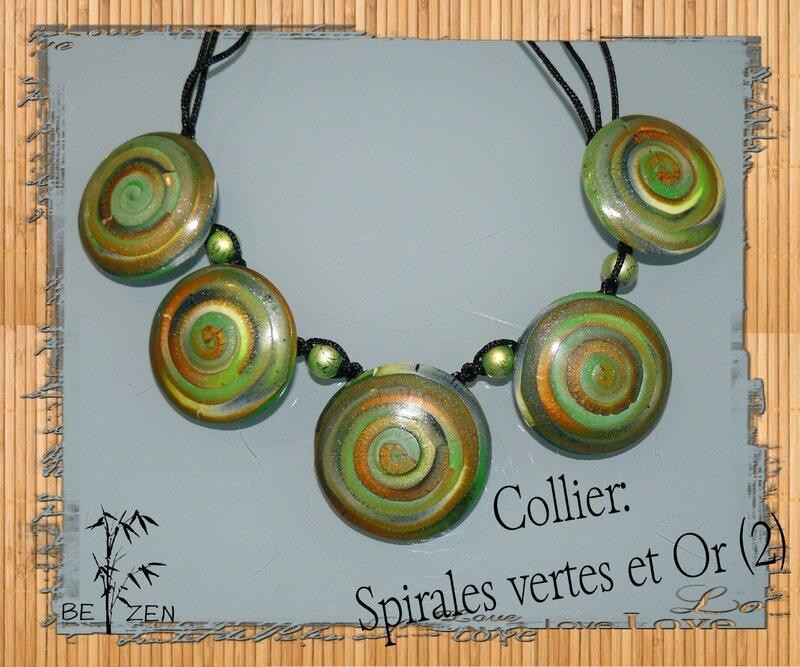 Collier spirales vertes et Or 2