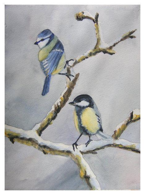 Les oiseaux en hiver les peintures de solange for Oiseaux des jardins en hiver
