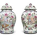 A large pair of chinese export famille rose jars, circa 1745