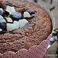 Moelleux au chocolat, poires et michoko