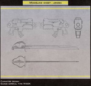 mise en page modeling sheet weapons