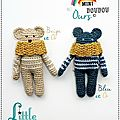 Amigurumi Crochet Ours - Mini doudou - Teddybear - Ours au crochet - Beige ou Bleu + Or - Fait main - Made in France - LittleCuriosité© 2017