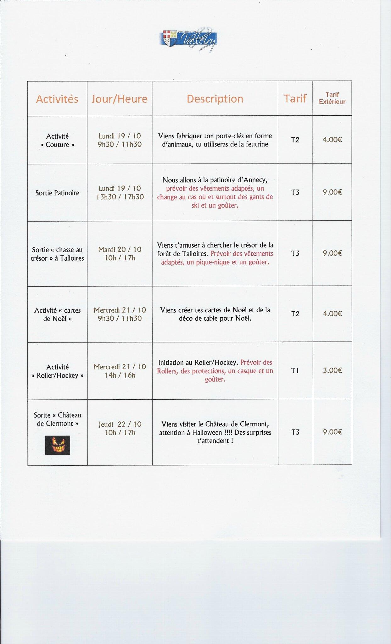 Programme Des Vacances De La Toussaint 2015 Service