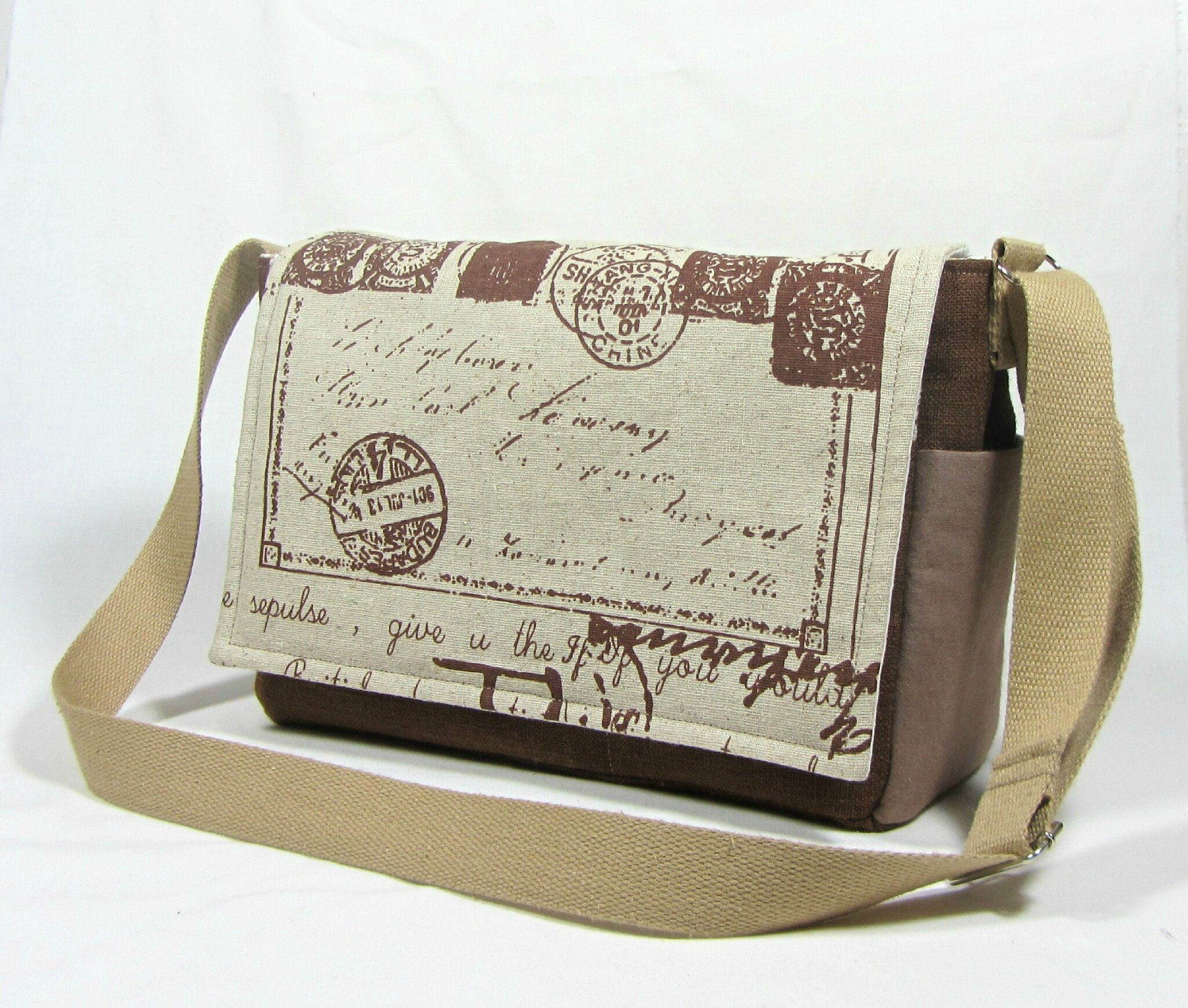 Sac besace, pocket bag écru et marron