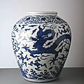 Large jar with five claw dragons, wanli mark and period (1573-1620)