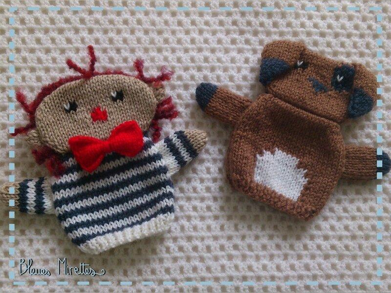 Marionnettes tricot garçon chien