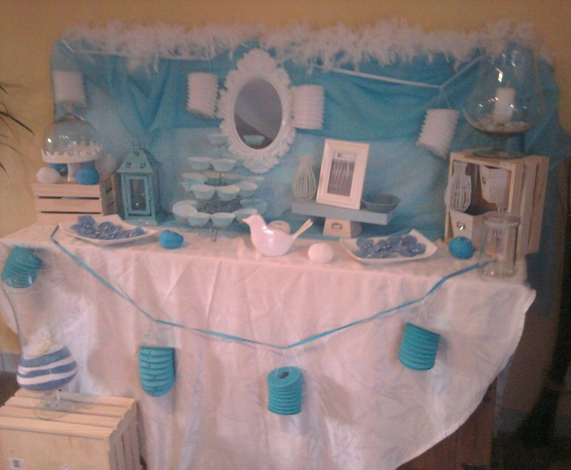 Sweet table bleu blanc les chouettes moments de julie - Idee deco bapteme garcon ...