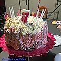 Rose cake - damier, cupcakes aux myrtilles, cocktail cendrillon