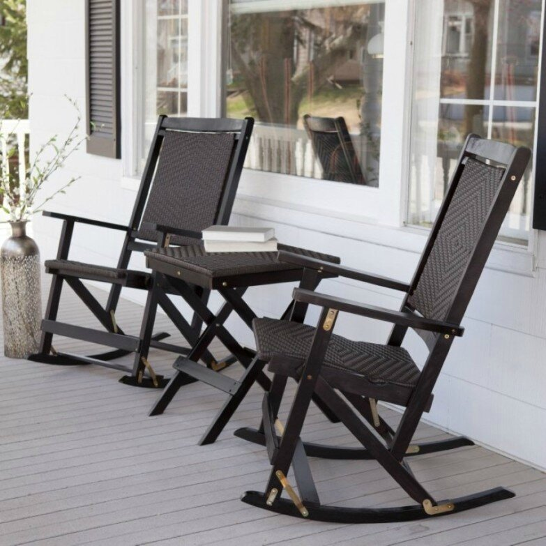 masculine-black-wooden-rocking-chairs-sides-black-folding-table-on-porch-with-white-wall-color-783x783