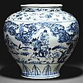 A blue and white 'windswept' jar, guan, 15th-16th century