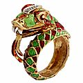 Italian Green & Red Enamel Snake Ring, 1960's