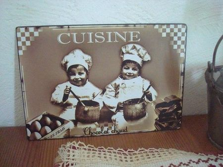 plaque-de-porte-cuisine-sepia-deux-enfants-deco-cuisine-retro