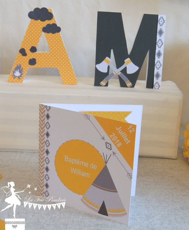 faire part cate invitation bapteme deco indien tipi jaune gris2