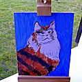 The cat on the easel