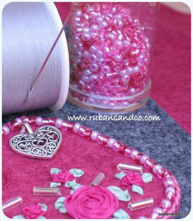 ribbon embroidery pink and grey