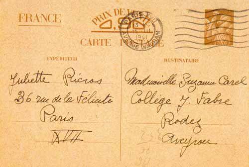 Carte de Correspondance Inter Recto-mars 1941