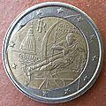 2€ italie 2006 coeur déformé