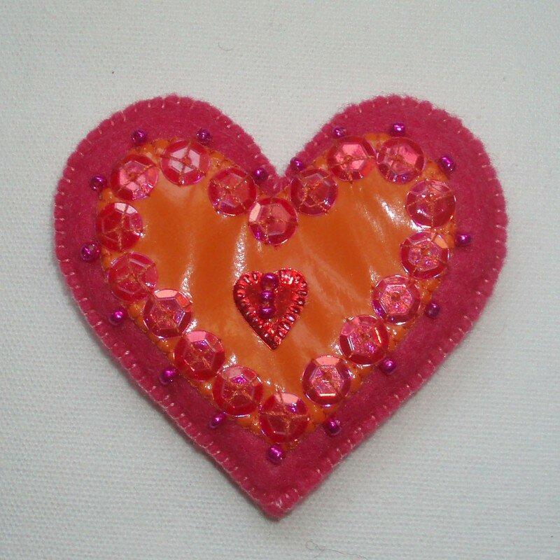 Coeur Rose Et Vinyl Orange Paillettes Roses Photo De
