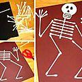 ☠ ✄ bricolage carte squelette d'halloween en cotons tiges ✄ ☠