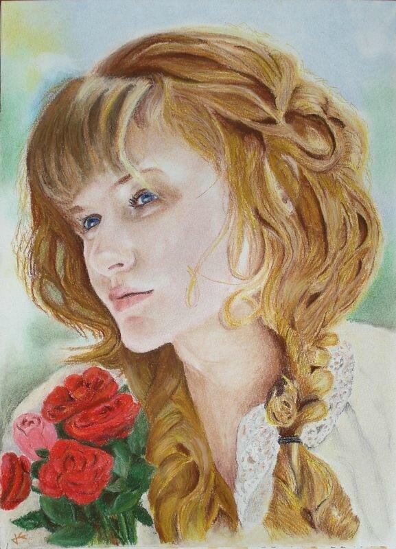 2010-Jeune fille aux roses-40x30