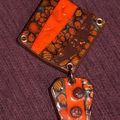 pendentif orange et marron