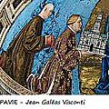 09 - CHARTREUSE DE PAVIE - Fresque (détail) - Jean Galéas Visconti offre la Chartreuse à la Vierge -wikimedia