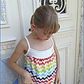 Robe Burda chevrons multicolores8